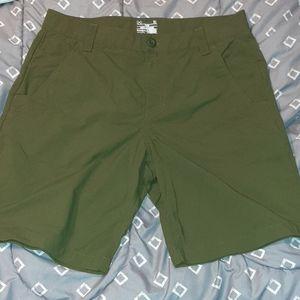 Green Under Armour Heat Gear Nylon Shorts Sz 34